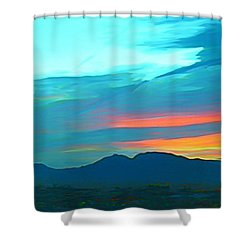 Sunset Over Las Vegas Hills Shower Curtain by John Malone
