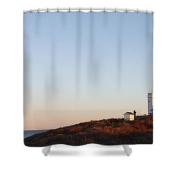 Shower Curtain featuring the photograph Sunset Over Montauk Lighthouse by John Telfer