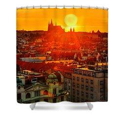 Sunset Over Prague Shower Curtain