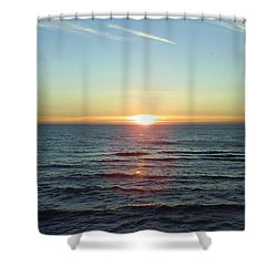 Sunset Over Sea Shower Curtain by Gordon Auld