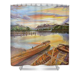 Shower Curtain featuring the painting Sunset Over Serenity Lake by Mary Ellen Anderson