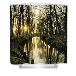 Sunset Over Stream Shower Curtain