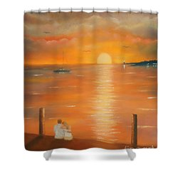 Sunset Over The Bay Shower Curtain