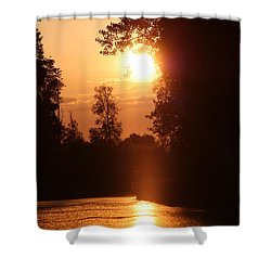 Sunset Over The Canals Shower Curtain