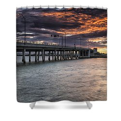 Sunset Over The Drawbridge Shower Curtain