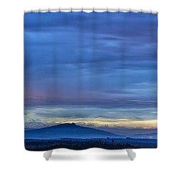Sunset Over The European Alps Shower Curtain by Bernd Laeschke
