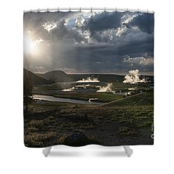 Sunset Over The Firehole River - Yellowstone Shower Curtain by Sandra Bronstein