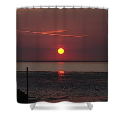Sunset Over The Hampshire Coast Shower Curtain by Rod Johnson