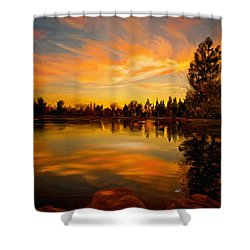 Sunset Over The Lake Shower Curtain by Angela A Stanton