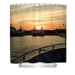 Shower Curtain featuring the photograph Sunset Over The Marina by Ron Davidson