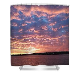 Sunset Over The Narrows Waterway Shower Curtain by John Telfer