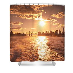 Sunset Over The New York City Skyline Shower Curtain by Vivienne Gucwa