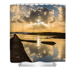 Sunset Over The Ocean I Shower Curtain by Marco Oliveira