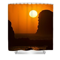 Shower Curtain featuring the photograph Sunset Over The Pacific Ocean With Rock Stacks by Jeff Goulden