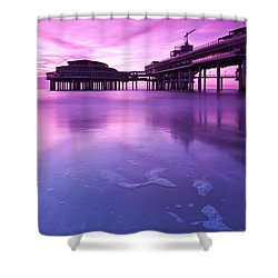 Shower Curtain featuring the photograph Sunset Over The Pier by Mihai Andritoiu