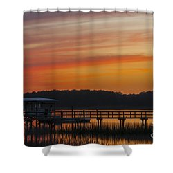 Sunset Over The Wando River Shower Curtain by Dale Powell