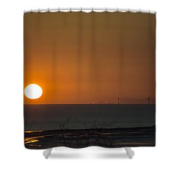 Sunset Over The Windfarm Shower Curtain
