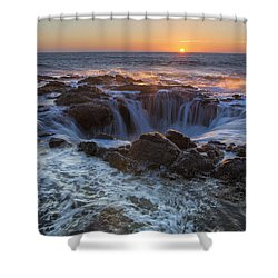 Sunset Over Thor's Well Along Oregon Coast Shower Curtain