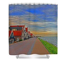 Sunset Over Volendam Shower Curtain