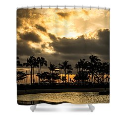Shower Curtain featuring the photograph Sunset Over Waikiki by Angela DeFrias