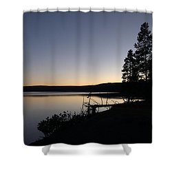 Sunset Over Yellowstone Lake Shower Curtain