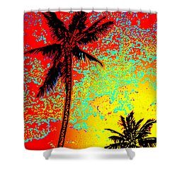 Shower Curtain featuring the photograph Sunset Palms by David Lawson