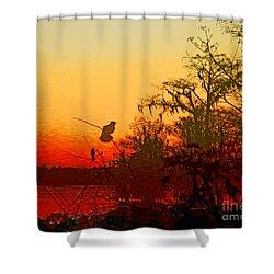 Shower Curtain featuring the digital art Sunset Perch Lake Martin Louisiana by Lizi Beard-Ward