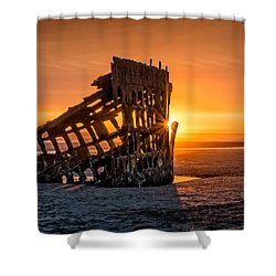 Sunset Peter Iredale Shower Curtain by James Hammond