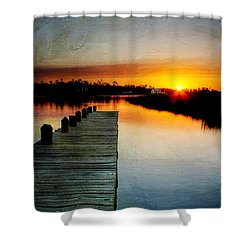 Sunset Pier Shower Curtain by Joan McCool