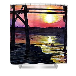 Sunset Pier Shower Curtain by Lil Taylor