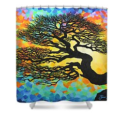 Shower Curtain featuring the painting Sunset Pine by Jane Girardot