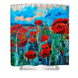 Sunset Poppies Shower Curtain by Ana Maria Edulescu