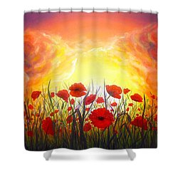 Shower Curtain featuring the painting Sunset Poppies by Lilia D