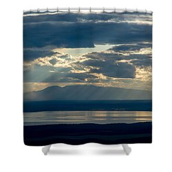 Sunset Rays Over Mount Susitna Shower Curtain by Andrew Matwijec