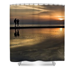 Sunset Reflection And Silhouettes Shower Curtain