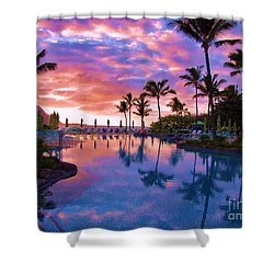 Shower Curtain featuring the photograph Sunset Reflection St Regis Pool by Michele Penner