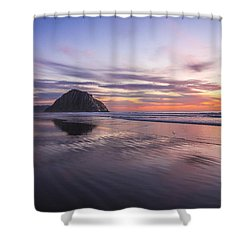 Sunset Reflections At Morro Bay Beach Rock Fine Art Photography Print Shower Curtain by Jerry Cowart