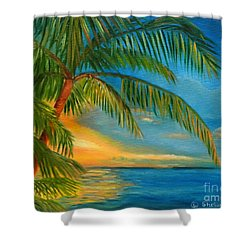 Sunset Reflections - Key West Sunset And Palm Trees Shower Curtain