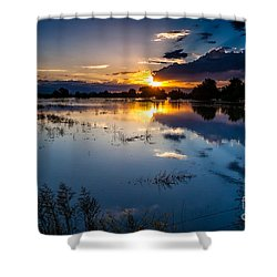 Sunset Reflections Shower Curtain by Steven Reed
