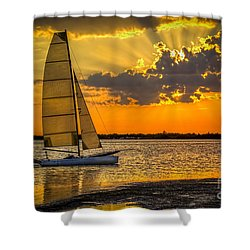 Sunset Sail Shower Curtain by Marvin Spates
