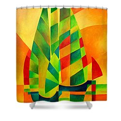 Shower Curtain featuring the painting Sunset Sails And Shadows by Tracey Harrington-Simpson