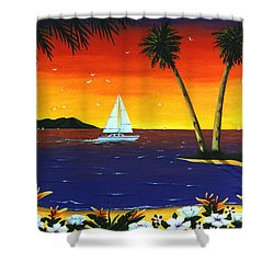 Shower Curtain featuring the painting Sunset Sails by Lance Headlee