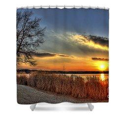 Sunset Sawgrass On Lake Oconee Shower Curtain by Reid Callaway
