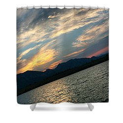Sunset Silhouette Boulder Colorado Shower Curtain by Juli Ellen