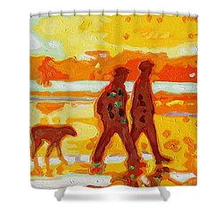 Sunset Silhouette Carmel Beach With Dog Shower Curtain by Thomas Bertram POOLE
