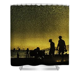 Shower Curtain featuring the photograph Sunset Silhouette Of People At The Beach by Peter v Quenter