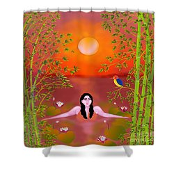 Sunset Songs Shower Curtain by Latha Gokuldas Panicker