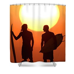 Sunset Surfers Shower Curtain by Sean Davey