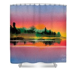 Shower Curtain featuring the painting Sunset by Teresa Ascone