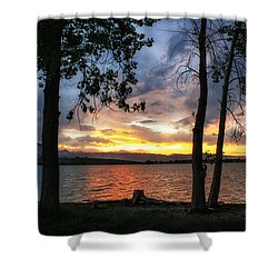 Sunset Through The Trees Shower Curtain by Juli Ellen